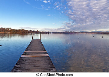 Autumn at lake Chiemsee in Bavaria, Germany