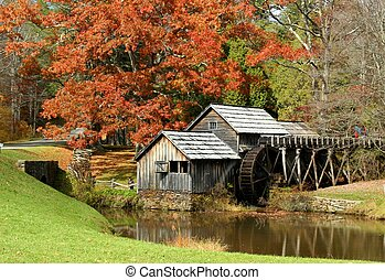 Autumn at Mabry Mill 4 - Mabry Mill, a restored gristmill on...