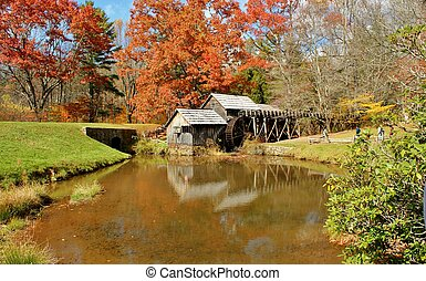 Autumn at Mabry Mill 5 - Mabry Mill, a restored gristmill on...
