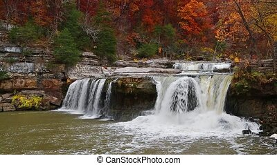 Autumn at the Cataract Loop - Whitewater spills off a rocky...