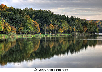 Autumn Lake with colorful trees