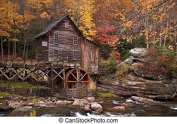 Autumn at the Grist Mill - Beautiful colorful October autumn...
