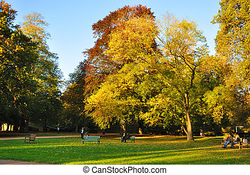 Autumn at the Stadtschloss park in Fulda, Hessen, Germany