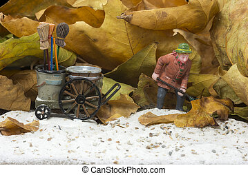 man with broom wagon cleaning up