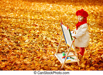 Autumn Baby Artist Painting Fall Yellow Leaves, Creative Kid Girl Drawing Inspiration