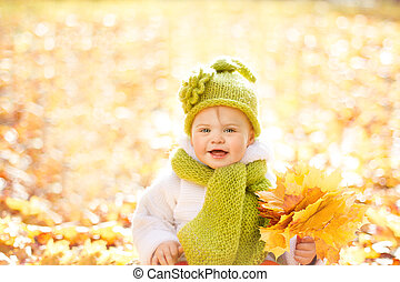 Autumn Baby, Happy Kid Outdoors Portrait with Yellow Fall Leaves, Children Autumnal Wool Clothing