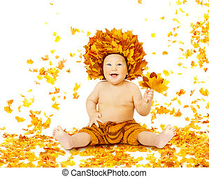 Autumn Baby, Little Kid sitting in Fall Leaves, Child Boy in Yellow Crown with Maple Leaf, on White Background