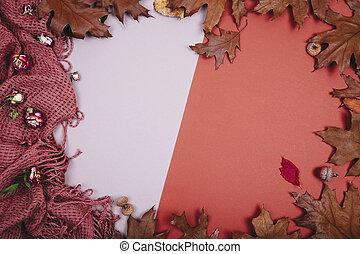 Autumn backdrop - frame autumn leaves
