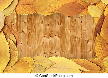 autumn backdrop with cherry leaves on table
