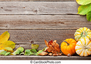 Autumn backdrop with pumpkins