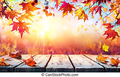 Autumn Backdrop - Wooden Table With Red Leaves