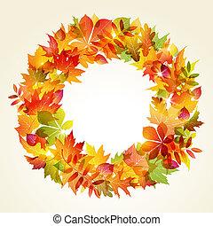 Autumn backgroun. Wreath of leaves