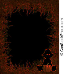 Autumn Background - Autumn background with little scarecrow...