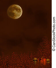 Autumn Background - Autumn background with moon, spiders,...