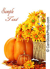 Autumn or Thanksgiving Bouquet with pumpkins and leaves against a white background. Shallow DOF.