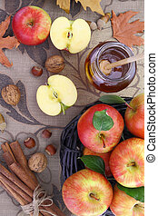 Autumn background basket with apples