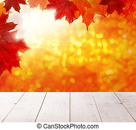 Autumn background. Colorful red fall maple leaves and abstract s