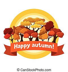 Autumn background design with abstract stylized trees