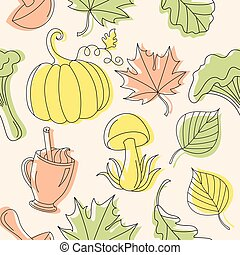 Autumn background in linear style with leaves.