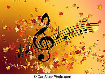 Autumn background. Music of the soul. Treble clef, musical...