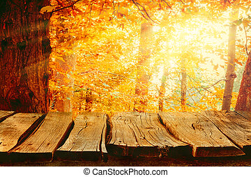 Autumn background nature. Tabletop with falling leaves....