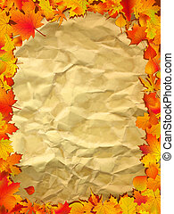 Autumn background on old paper.