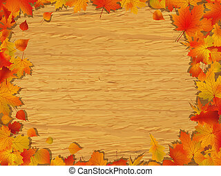Autumn background on wooden board