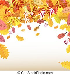 Autumn Background. Orange Falling Leaves. Vector