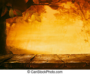 Autumn background - Wooden table. Autumn design with leaves...