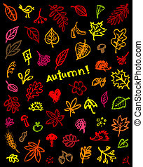Autumn background, sketch drawing for your design