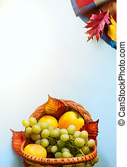 autumn background, thanksgiving holiday fruit composition