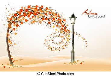 Autumn background with a tree and a colorful leaves and ...