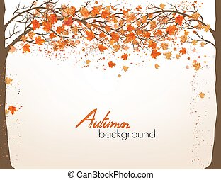 Autumn background with a tree and colorful leaves. Vector.
