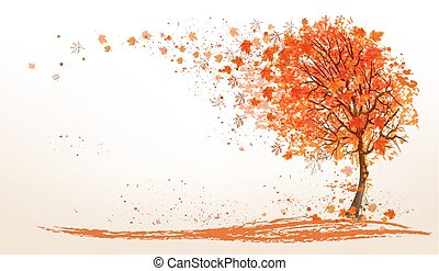 Autumn background with a tree and golden leaves.