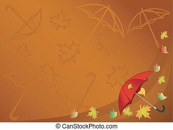 Autumn background with an umbrella