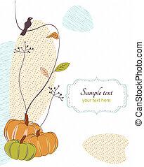 Autumn background with bird, flora