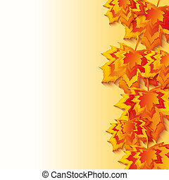 Autumn background with colorful 3d maple leaves