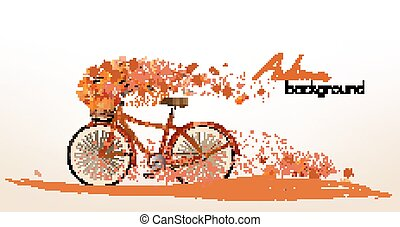 Autumn background with colorful leaves and a bicycle. Vector