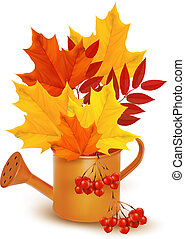 Autumn background with colorful leaves growing in a watering can. Vector.