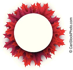 Autumn background with crimson maple leaves. - White paper...