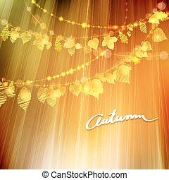 Autumn background with different leaves