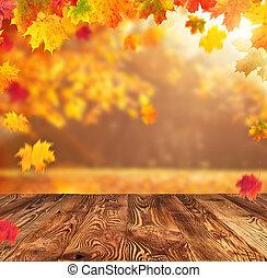 Autumn background with empty planks - Beautiful autumn...