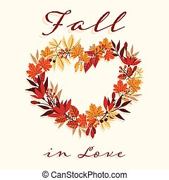 Autumn background with Fall in Love text on autumn leaves frame.