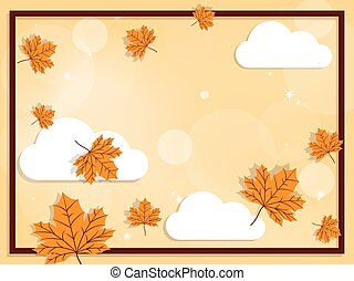 Autumn background with fall leaves on sky with clound.