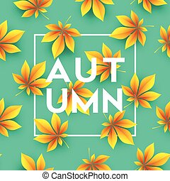 Autumn background with Fall leaves. Vector illustration