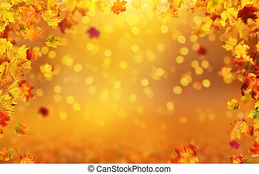 Autumn background with falling leaves, free space for text