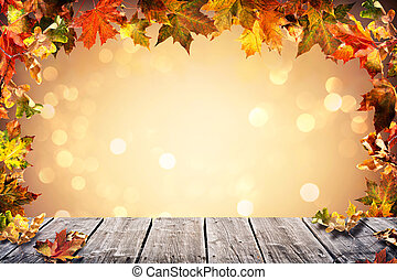 Autumn background with falling leaves
