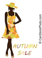 Autumn background with fashion woman with dress made of leaves