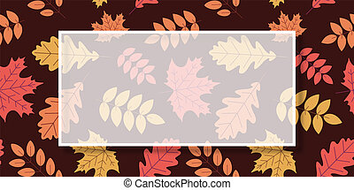 Autumn background with frame and golden leaves.