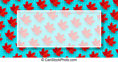 Autumn background with frame and maple leaves.